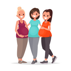 Group of pregnant women are embracing standing on a white background. Courses expectant mothers. Waiting for the baby