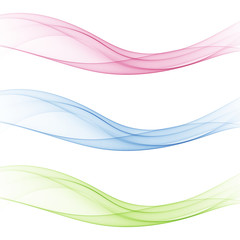 Abstract soft speed futuristic swoosh wave. Three minimalistic divider swoosh lines in gradient green ,pink ,blue color. Vector illustration