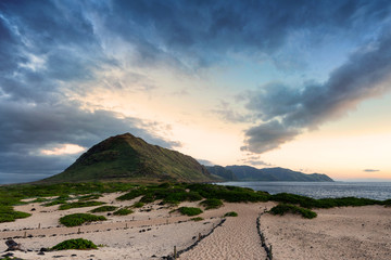 Wall Mural - Kaena Point from the seagull wildlife sanctuary. The area is the northwestern most point on Oahu, Hawaii.
