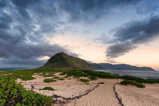 Kaena Point from the seagull wildlife sanctuary. The area is the northwestern most point on Oahu, Hawaii.