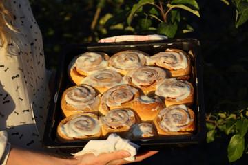 Cinnamon on baking sheet