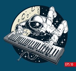 Astronaut playing piano synthesizer in space, space tourist
