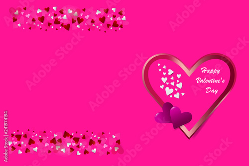 Love Theme Vector Showing One Metal Frame Heart In The Right Side Of