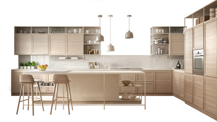 Modern white kitchen with wooden details, island with stools, interior design concept idea, isolated on white background with copy space, minimalist furniture