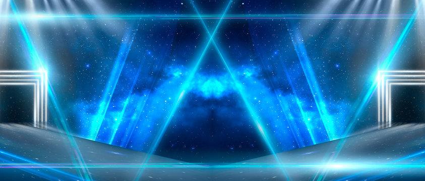 Background of empty room, lamps, neon light, smoke, fog. Neon Light Tunnel, Space Portal