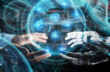 Robot hand and human hand touching digital sphere graph interface 3D rendering