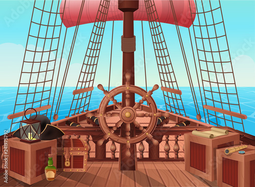 SHIP OF PIRATES  Vector illustration of sail boat bridge
