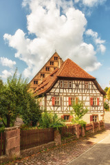 Germany, Baden-Wuerttemberg, Maulbronn. Historic half-timber buildings in the monastery village.