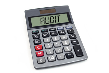 Cubes dice, paperwork and calculator with audit