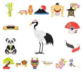 Country Japan cartoon icons in set collection for design.Japan and landmark vector symbol stock web illustration.