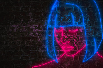 Female face in pink and blue neon lights