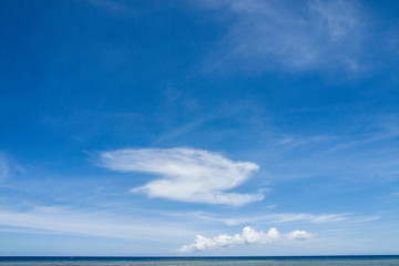 Bird-like cloud above sea horizon