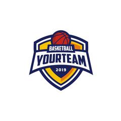 Basketball Club Emblem Badge Logo design