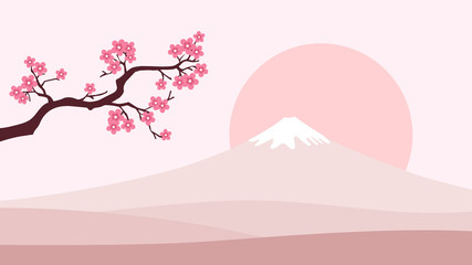 Japan lanscape background. Mountain Fuji, Sunset and cherry blossom branch. Light pink color gamma. Symbol of Japan.