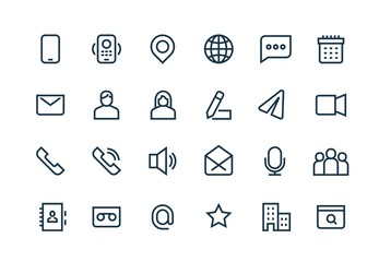 Contact line icons. Phone website mail, business personal information, url address, home office location. Web vector symbols