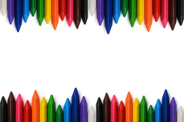 Multicolored pencils with free space for text.