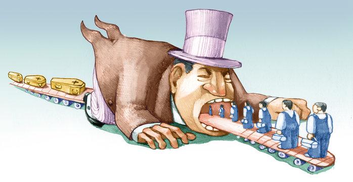 worker life exploitation political cartoon
