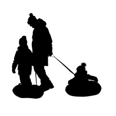 Father and children ride on inflatable tubing in the snow. Winter fun. Vector illustration of black silhouette on white background