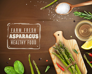 Realistic Asparagus Wood Background