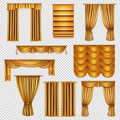 Luxury Gold Curtains Transparent Set