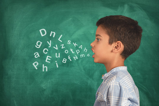 Child speaking and alphabet letters coming out of his mouth