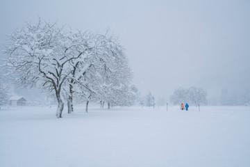 Tief verschneite Winterlandschaft in den Alpen