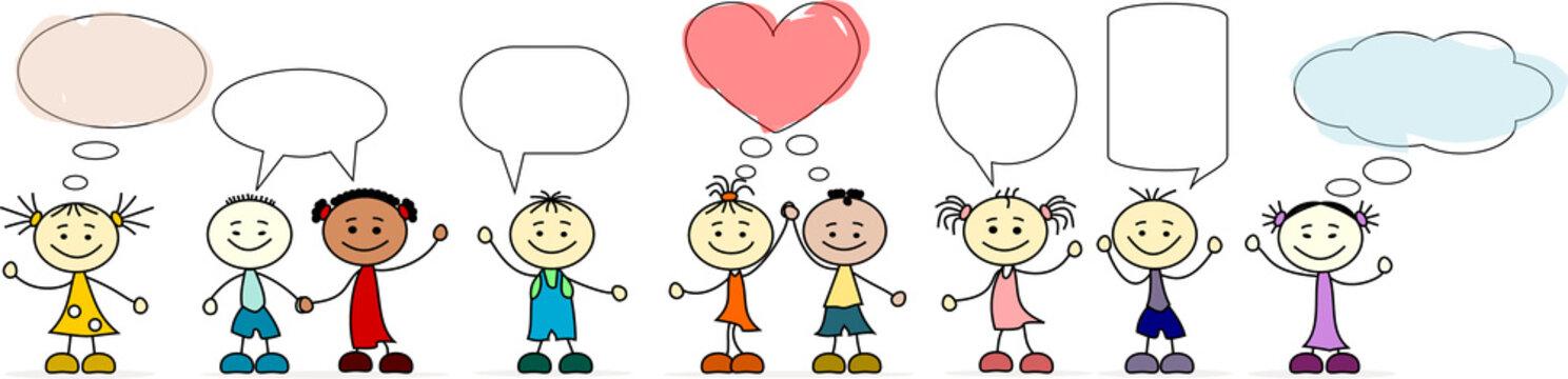 Kinder verschiedener Nationen mit Sprechblasen
