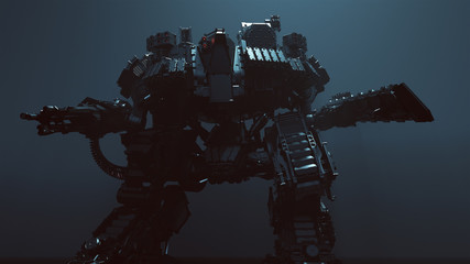 Futuristic AI Battle Droid Cyborg Mech with Glowing Lens 3d illustration 3d render
