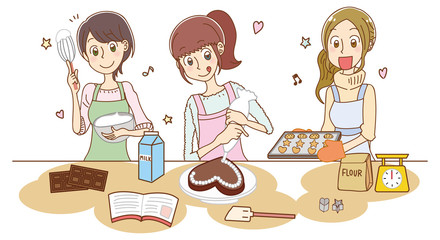 お菓子作りをする女性のイラスト