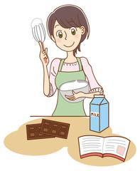 クリームを作る女性のイラスト