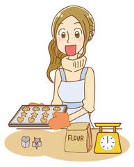 クッキーを焼く女性のイラスト