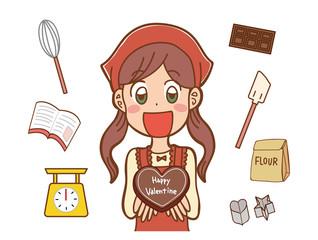 手作りチョコを持つ女の子のイラスト