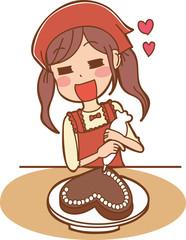手作りチョコを作る女子のイラスト