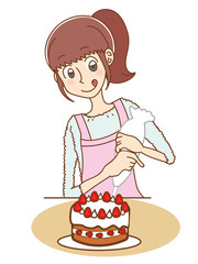 ケーキを作る女性のイラスト