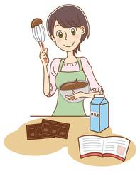 チョコクリームを作る女性のイラスト