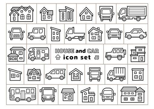 車と家のアイコンセット(線画のみ)