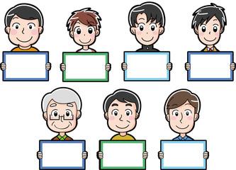 男性のイラストアイコン (白紙のメッセージボード)