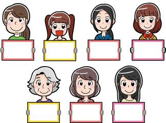 女性のイラストアイコン (白紙のメッセージボード)