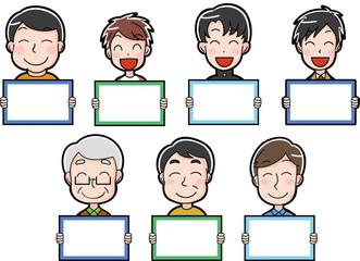 笑顔の男性のイラストアイコン (白紙のメッセージボード)