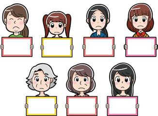 困り顔の女性のアイコンイラスト(白紙のメッセージボード)