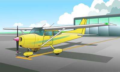 Single engine aircraft ground