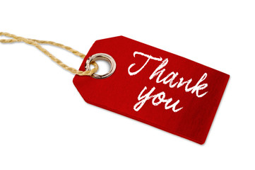 Red wooden hangtag with thank you isolated on white background