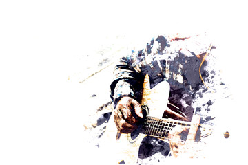 Abstract beautiful playing acoustic Guitar in the foreground on Watercolor painting background and Digital illustration brush to art. Fotoväggar