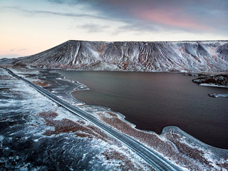 Kleifarvatn lake in Iceland with scenic road aerial view