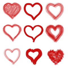 Group of collect writing heart on white background