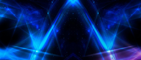 Wall Mural - Abstract blue background with neon rays, flashes of light, faces, lines. Cosmic abstract background of the substrate.