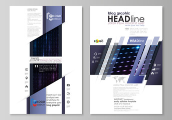 Blog graphic business templates. Page website layouts. Abstract colorful neon dots, dotted technology background. Glowing particles, led light pattern, futuristic texture, digital vector design.