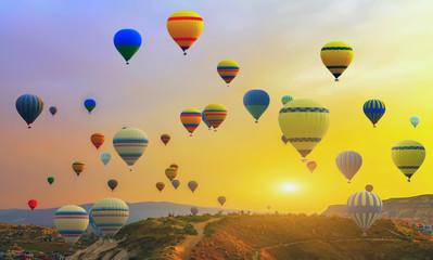 Spring sunset  Hot air balloons