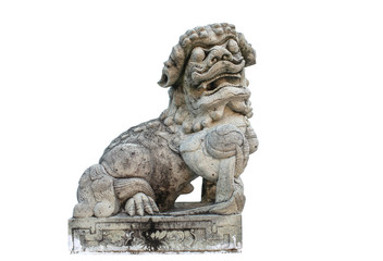 Isolated image of Carving stone lion in Chinese style is popular used to show around Buddhism temple in Thailand and Southeast Asia countries.