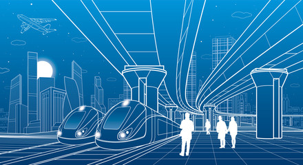 Two trains travel by rail. Modern night town. Urban scene. Big bridge. People walking at platform. Airplane fly. White lines on blue background. Vector design art